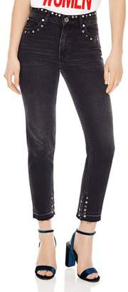 Sandro Polygone Frayed Hem Grommeted Jeans