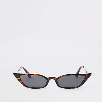 711550e48f River Island Womens Brown tortoise shell slim visor sunglasses