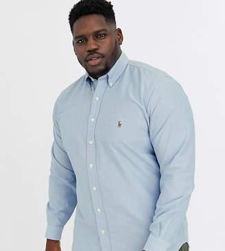 Polo Ralph Lauren Ralph Lauren Big & Tall player logo classic fit buttondown oxford shirt in bsr blue
