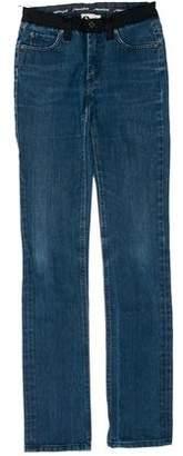 Lanvin Grosgrain-Trimmed Straight-Leg Jeans