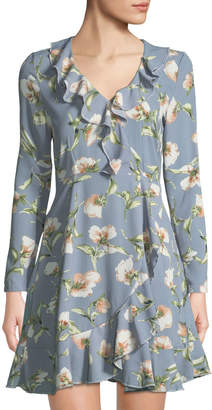 Free Generation Floral-Print Ruffle-Trim Mini Dress