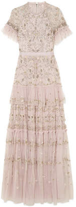Needle & Thread Constellation Tiered Embellished Tulle Gown - Pink