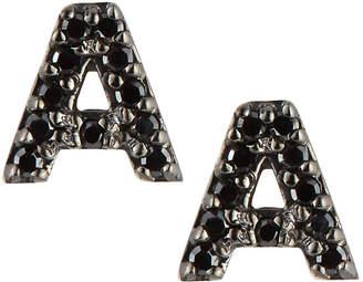 KC Designs 14k White Gold & Black Diamond Initial Single Stud Earring
