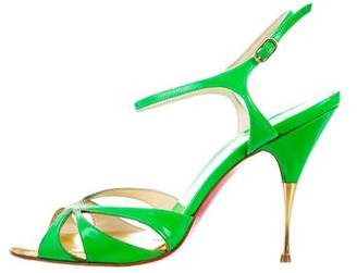 Christian Louboutin Patent Leather Round-Toe Sandals