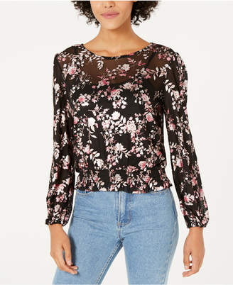 Almost Famous Juniors' Metallic Floral-Printed Smocked Top