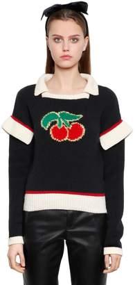 Philosophy di Lorenzo Serafini Cherries Intarsia Wool Blend Sweater