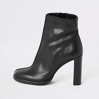 River Island Black leather platform heel ankle boot