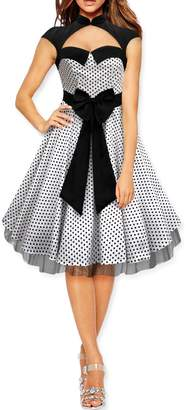 Athena BlackButterfly 'Athena' Polka Dot Large Bow Dress (Silver, US 4)