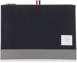 Thom Browne Leather-Trimmed Cotton-Twill Document Holder