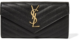 Saint Laurent - Quilted Textured-leather Wallet - Black $750 thestylecure.com