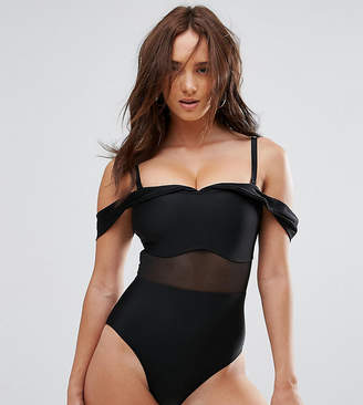 Wolfwhistle Wolf & Whistle Tailored Off The Shoulder Swimsuit With Mesh Inserts DD - G Cup