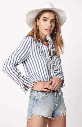 Hip Tie Front Button Down Top