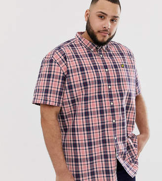 short sleeve check shirt in pink