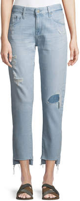 AG Jeans The Ex-Boyfriend Distressed Tapered Mid-Rise Jeans