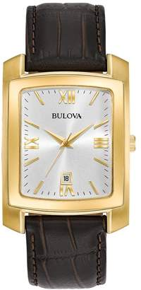 Bulova Men's Croc Embossed Leather Strap Watch, 47mm