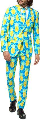 OppoSuits Summer Shineapple Trim Fit Two-Piece Suit with Tie