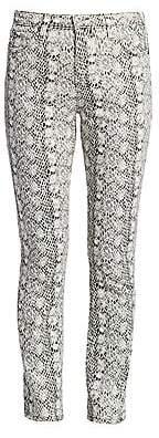 AG Jeans Women's Mari Snakeskin High-Rise Straight Jeans