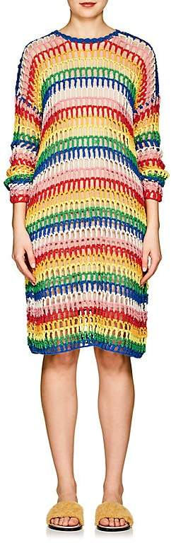 Women's Striped Crochet Cotton Dress