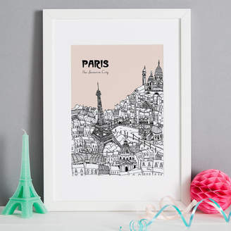 Tessa Galloway Illustration Personalised Paris Print