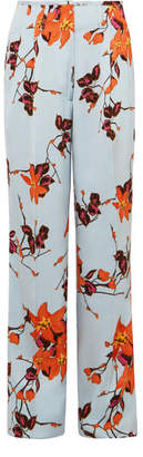 Etro Floral-print Satin Wide-leg Pants - Orange