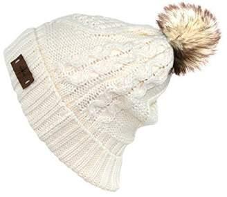 78b8c4f6c2b ANGELA   WILLIAM Women s Faux Fur Pom Pom Fleece Lined Knitted Slouchy  Beanie Hat