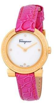 Salvatore Ferragamo Stainless Steel Croc-Print Leather Strap Watch