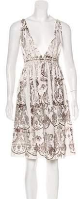 Miu Miu Sleeveless Printed Dress brown Sleeveless Printed Dress