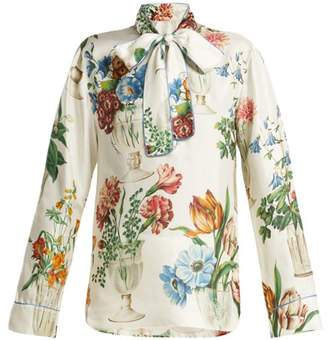 Dolce & Gabbana Floral And Vase Print Silk Blouse - Womens - White Multi