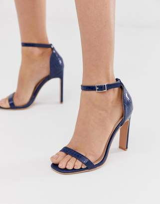 Lost Ink barely there square toe stiletto heeled sandal