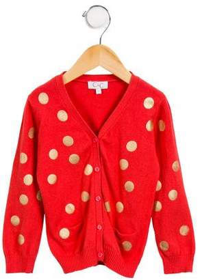C de C Girls' Polka Dot Button-Up Cardigan