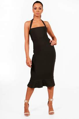 boohoo Boutique Bandage Peplum Hem Midi Dress
