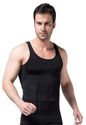 ABS by Allen Schwartz Generic Mens Slimming Body Shaper Abdomen Slim Vest Tank Undershirt - Black-Small
