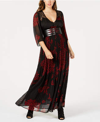 GUESS Carole Belted Pleated Floral Chiffon Maxi Dress