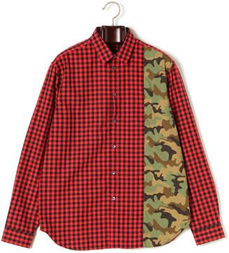 N°21 (ヌメロ ヴェントゥーノ) - N°21 チェック カモフラージュ柄切替 長袖シャツ レッドチェック xs