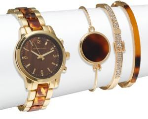 Tortoise Shell Bracelet Watch & Bangle Bracelet Set $125 thestylecure.com
