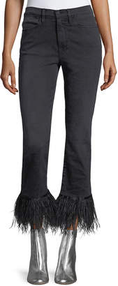 Frame Le High Straight-Leg Ankle Jeans with Feather Hem