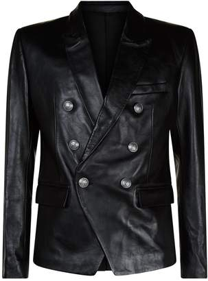 Balmain Leather Double-Breasted Blazer