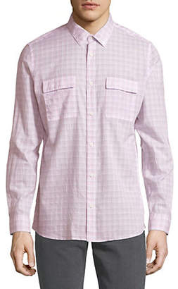 Calvin Klein Long-Sleeve Plaid Cotton Sport Shirt