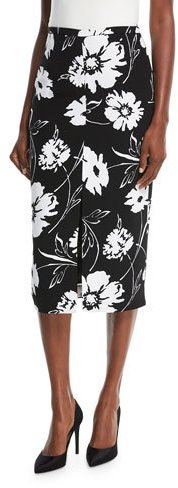 Michael Kors Collection Floral-Print Crepe Cady Pencil Skirt