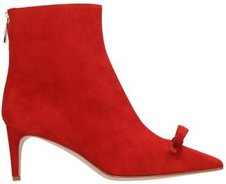 RED Valentino High Heels Ankle Boots In Red Suede