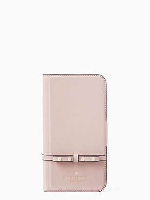 Kate Spade Jeweled bow wrap iphone x folio case
