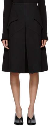 Sara Lanzi Black Wool Pleated Midi Skirt