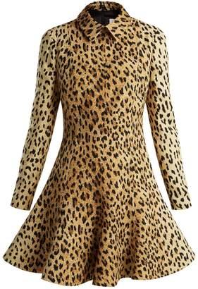 Valentino Leopard-print wool-silk crepe dress