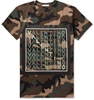 Valentino Logo And Camouflage-Print Cotton-Jersey T-Shirt