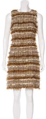 Chanel Fantasy Fur-Trimmed Tweed Dress