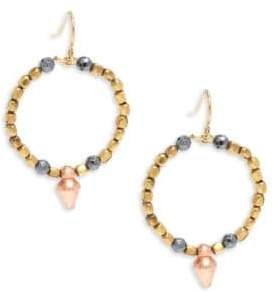 Vanessa Mooney Goldplated & Faceted Copped Beaded Hoop Earrings