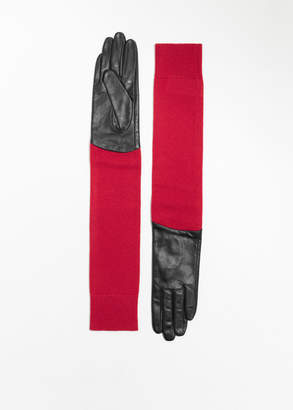 Long Leather Wool Gloves