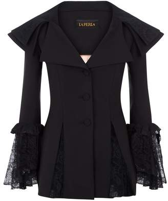 La Perla Cocktail Looks Black Wool Stretch Jacket With Leavers Lace Ruffles