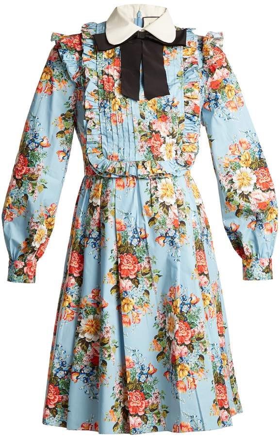 GUCCI Josephine-print cotton-blend dress