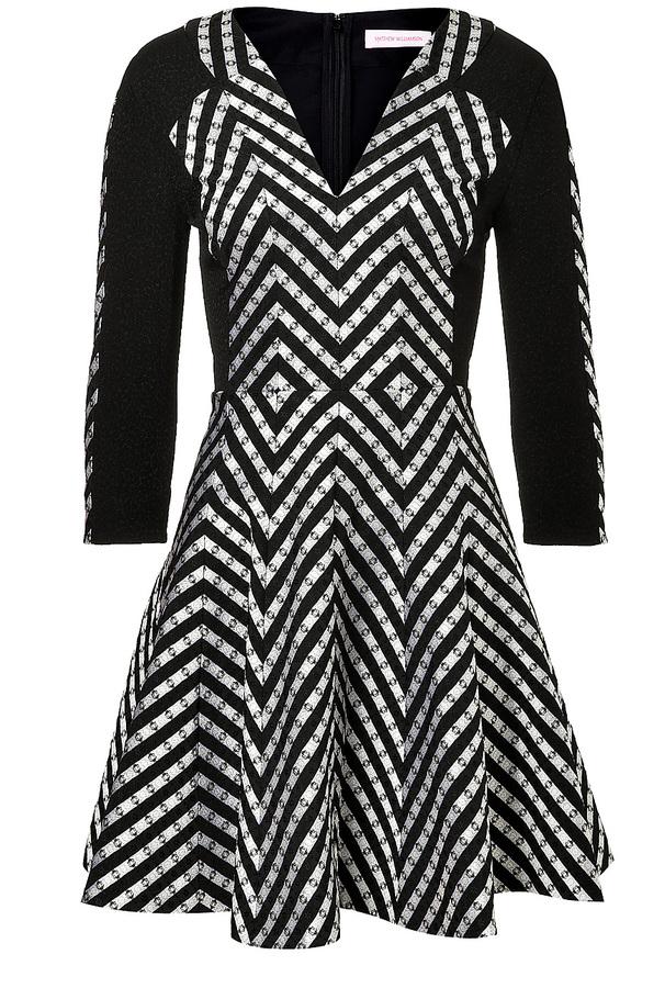 Matthew Williamson Wool Blend Dress in Black/White